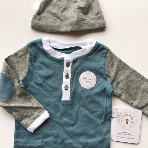 1abec0494f7 Burt's Bees Baby Matching Sets | New Burts Bees Henley Coverall Hat ...